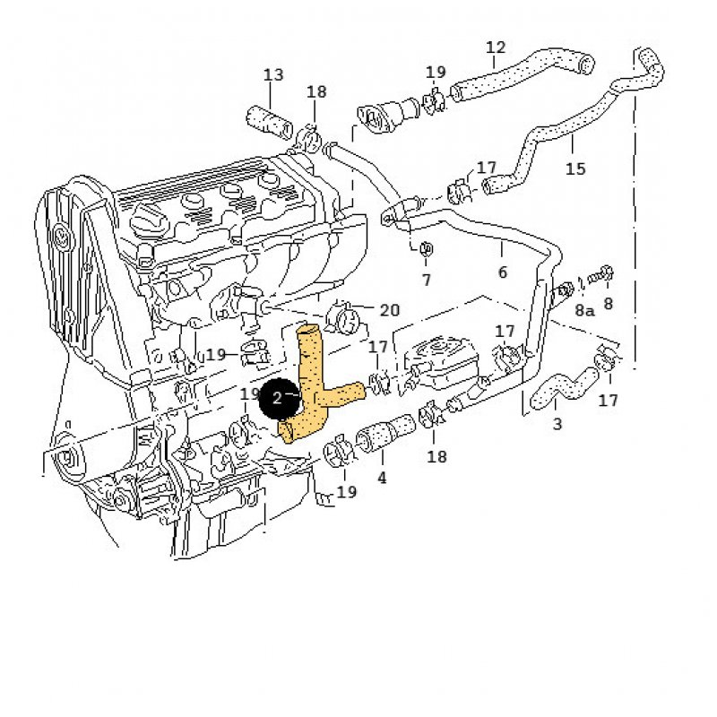 vr6 cylinder head with Scirocco 16v Oem 051121053a on Vw A3 Jetta Golf Gti Cabriolet Radiatorhoses108 also Straight 6 Engine Diagram additionally Lexus P0390 P0418 Wire Harness furthermore Parts of cooling system engine side moreover Head Gasket Repair Vw Jetta.