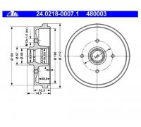 Brake Drum, rear axle, without wheel bearing for e.g. VW...