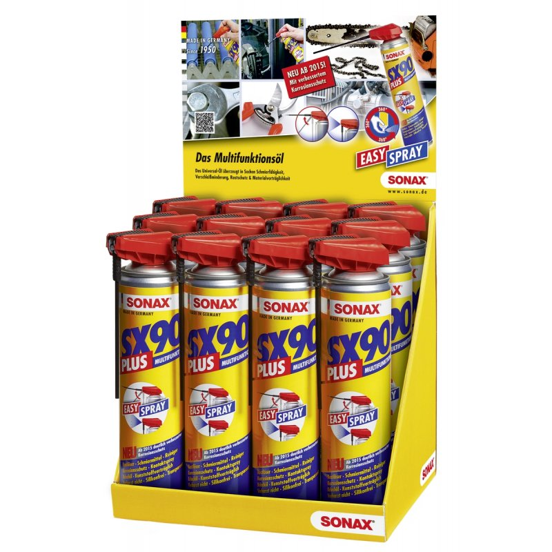 SONAX SX90 PLUS m. EasySpray 400 ml Thekendisplay - 19 Stück Spraydose im Thekendisplay (SONAX 04745410)